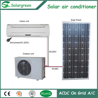 12000btu  photovoltaic type 90 percent Energy Saving ACDC On Grid Hybrid Solar air conditioner