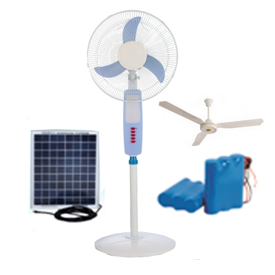 12V DC Rechargeable Solar Floor standing Fan with ACDC Grid option